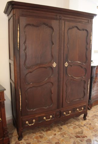 19th century Louis XV solid oak French wardrobe